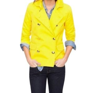J Crew yellow double breasted short trench coat